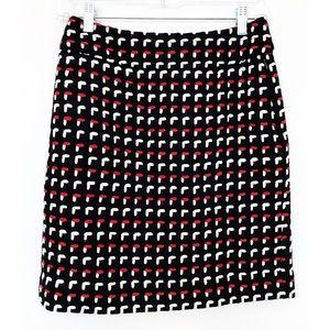LOFT Sz 0 Wool Skirt Black / Red / White Lined